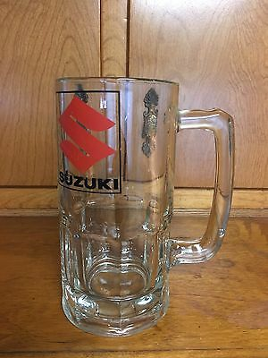 28 Ounce Clear Glass Beer Mug Stein Suzuki Logo Great for Tailgating