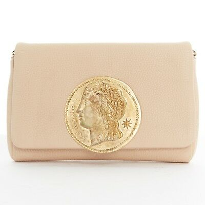 DOLCE GABBANA gold roman coin flap front tan leather clutch crossbody small  bag 59b5f5ab4ff01