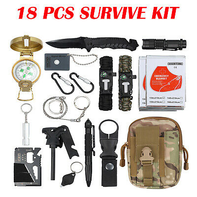 NEW 18pcs Survival Equipment Kit Outdoor Tactical Hiking Camping Emergency Tool