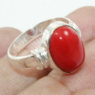 Red Coral Gemstone Statement Ring 925 Sterling Solid Silver Jewelry - All SIZES