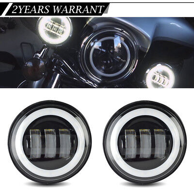 """2X4.5"""" Round LED Passing/Fog Light Lamp Halo Replace Harley Motorcycle Road King"""