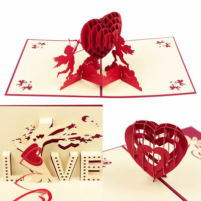 3D Pop Up Greeting Card Engagement Wedding Birthday Valentines Gifts 2019