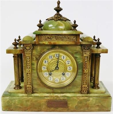 Antique French 8 Day Polished Slate & Marble Mantel Clock & Engraved Decoration