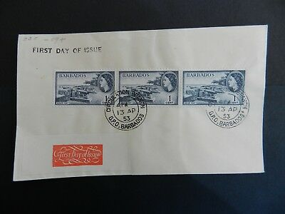 Barbados First Day Cover 1953  strip of 3 stamps 1c