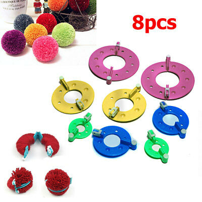 8stk Wrap Pompom Maker Flush Ball Weaver Fuzzball Braider Nadel Knit Werkzeug
