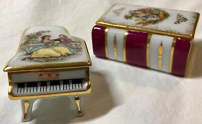 Vintage Limoges Courting Couple Piano and Book Trinket Boxes (Signed Watteau)