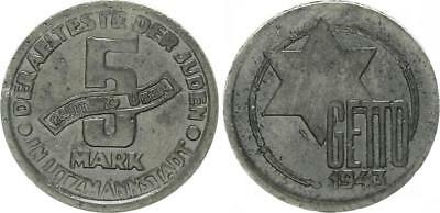 5 Mark (with Certificate of Authenticity) 1943 Magnesium/ Poland/ Getto