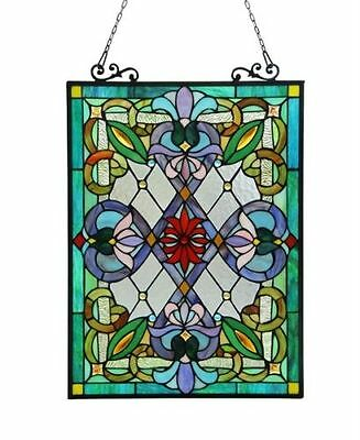 "Tiffany Style Victorian Design Stained Glass Window Panels 18"" W x 26"" H   PAIR"