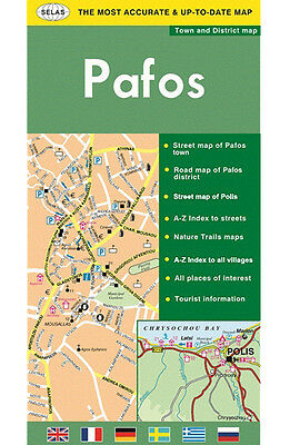 Road & Tourist Map of Paphos, Cyprus - Pafos Town & District Map, latest edition