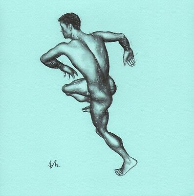 ORIGINAL NUDE MALE PORTRAIT FIGURE 8x8 MIXED MEDIA ON TONED PAPER DRAWING