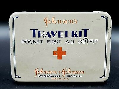 Vintage Johnson's TRAVELKIT Pocket First Aid Outfit (Tin~Empty) ~ New Brunswick