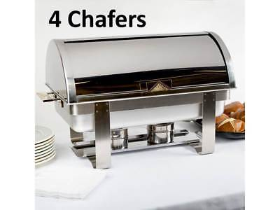 (4-Pack) Roll Top Full Size Silver 8 Qt. Stainless Steel Catering Chafing Dishes