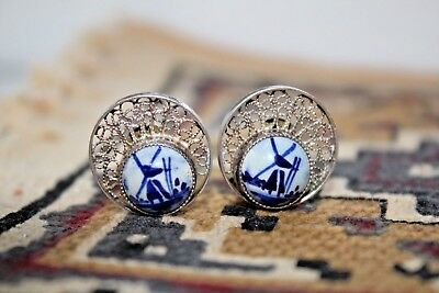 Beautiful Vintage 1966 Dutch Pair Of Silver 835 Delft Clip-on Earrings - VG