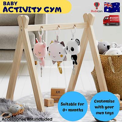 Interactive Baby Play Wooden Gym Stand Activity Game Toy Floor Mobile Learning