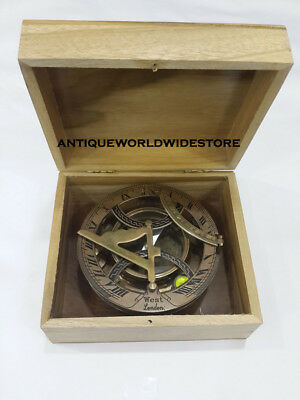 Nautical Sundial Compass Beautiful Antique Brass West London With Wood Box