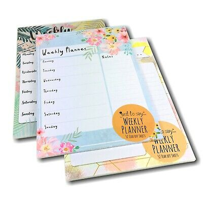 A4 Weekly Planner 52 Tear Off Sheets Notes Meal Organiser Things To Do Memo Pad