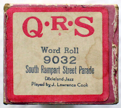 """J. LAWRENCE COOK """"South Rampart Street Parade"""" QRS 9032 [PIANO ROLL]"""