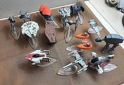 Lot of 14 Vintage Star Wars Micro Machines Vehicles!! Great Cond.! w/ Stands!