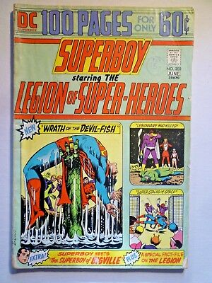 Superboy 202 1974 Giant Sized Legion Of Super Heroes Issue Bronze Age DC Comics