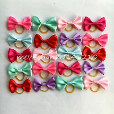 20PCS/LOT Puppy Dog Hair Bows Assorted colorful Style Pet rope cat Accessories