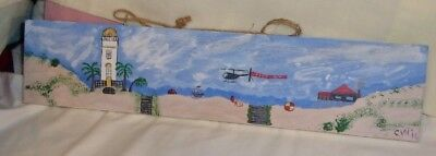 Folk Art  Hand Painted On Wood Plaque Ooak Signed Dated Lighthouse Beach Scene