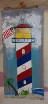 Folk Art  Hand Painted On Wood Plaque Ooak Signed Dated  Lighthouse & Tugboat