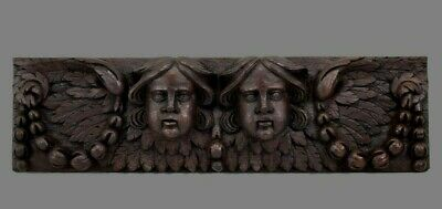 17th Century French Hand Carved Oak Wood Pediment Wall Panel Cherubs Angels