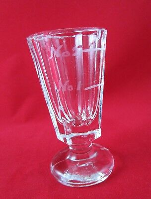 Antique Footed HEAVY Glass Medicine Measuring Cup - Etched Doses - Octagon Shape