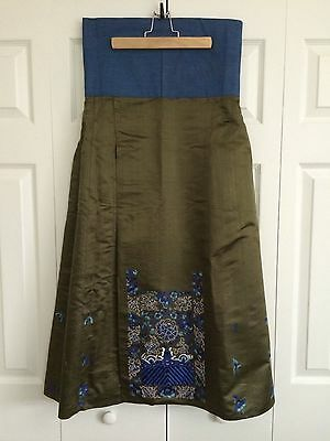 Japanese Silk Hakama w/ Cotton Cobalt blue Embroidery - Medium Size VINTAGE