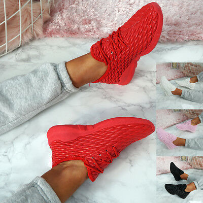 Womens Ladies Quilted Trainers Lace Up Sneakers Casual Gym Sport Shoes Sizes