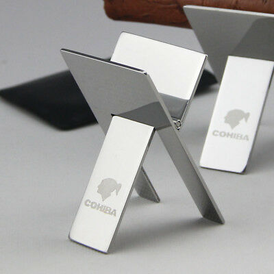 COHIBA Excellent Stainless Steel Foldable Cigar Stand Ashtray Holder on sale