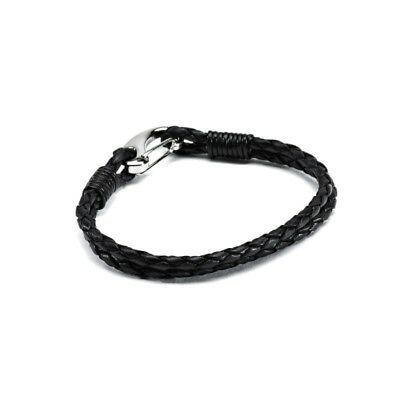 Hiho Silver Plaited Leather Bracelet with Lobster Clip | Brown/Black | Jewellery