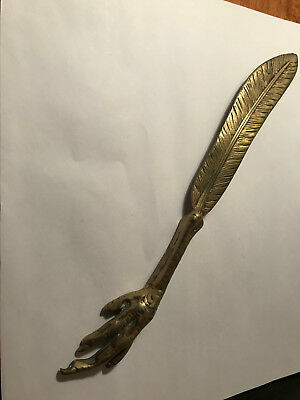 Antique Brass 1840 Bethel 1886 Eagle Talon With Feather Letter Opener
