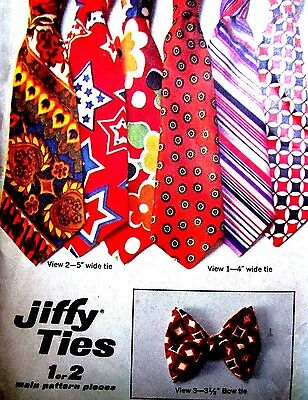 Simplicity 9400 Vintage Sewing Pattern 1970's Men's Jiffy Ties Tie Bow Tie Uncut