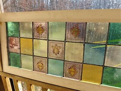 Antique Vintage Leaded Stained Glass Window Victorian Grapes  Hand Painted Kiln