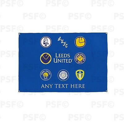 Leeds United FC Official Personalised Retro Badges Blue Fabric Flag Banner LB004