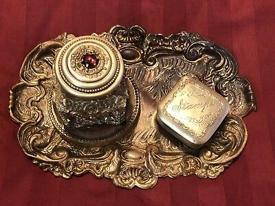 Antique Victorian Ink Well & Stamp Box Desk Set Rich Repousse Detail