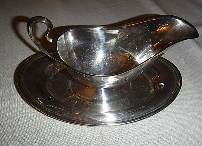 Vintage Silver Plated Gravy Boat  And Attached Tray
