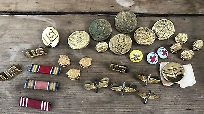 Huge Lot WW2 US Military Air Force Army Badges Ribbons Buttons Pins