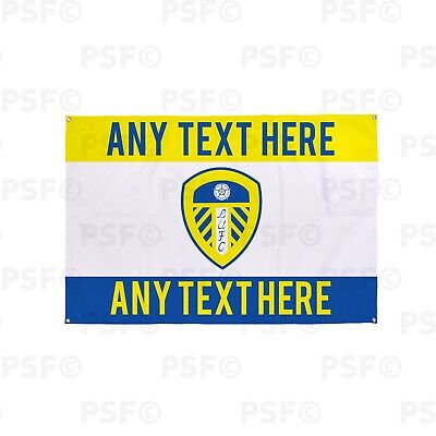 Leeds United FC Official Personalised Single Crest Sections Fabric Banner LB005
