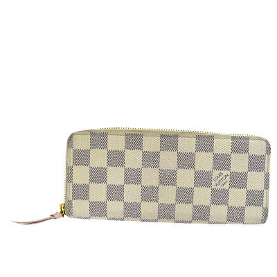 Auth LOUIS VUITTON Clemence Long Zippy Wallet Purse Damier Azur N61264  37EK861 dbc32fe9665