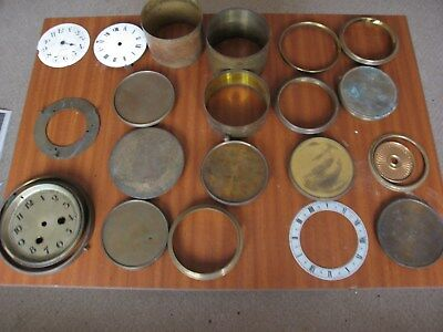 Job Lot Antique French 8 Day Mantle Platform Clock Spare Dial Bezels Back Parts