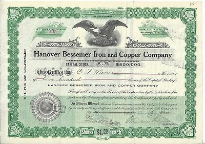 1918 Hanover Bessemer Iron and Copper Stock Certificate