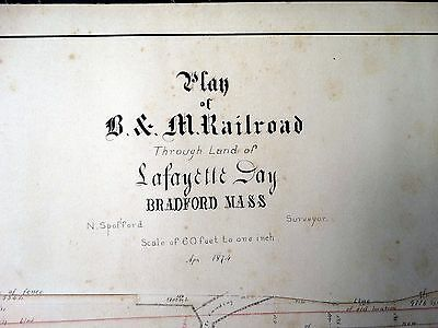 Antique RAILROAD MAP Lot of 2 BRADFORD MA April 1874 B & M Survey Lafayette Day