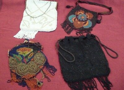 Antique Beaded Purse Lot, For Repairs, Four Purses