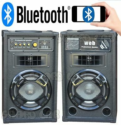 "COPPIA CASSE AMPLIFICATE ATTIVE KARAOKE 500W 8"" CON LED + BLUETOOTH + USB wow"