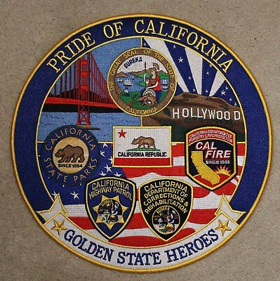 12 INCH Pride Of California Iron On Patch - State Park Police Fire Heroes W01