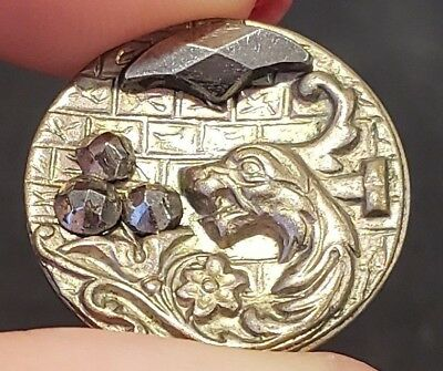 Antique Metal Picture Button…Fabulous Animal Dragon with Cut Steels