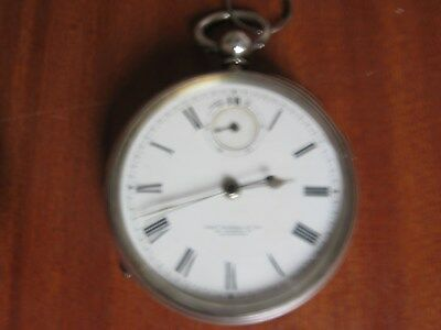 Antique Power Reserve Dial Silver Fusee Centre Second Pocket Watch Thomas Russel