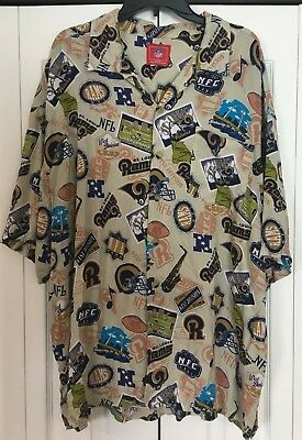 827ed8273 RAMS HAWAIIAN SHIRT Los Angeles NFL L.A. camp THROWBACK 2XL XXL st. louis  stl